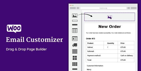 Плагин WooCommerce Email Customizer with Drag and Drop Email Builder v1.4.32