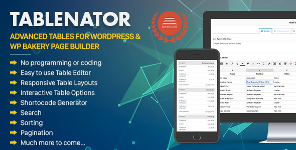 Tablenator v2.0.2 - адаптивные таблицы для WordPress & WP Bakery Page Builder