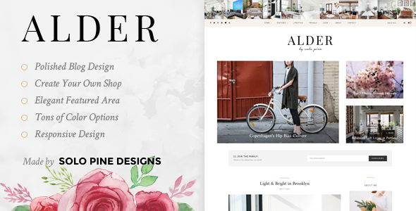 Alder v1.1 - адаптивная тема WordPress для блогов