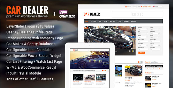 Car Dealer v1.4.6 - премиум тема WordPress для сайтов автодилеров
