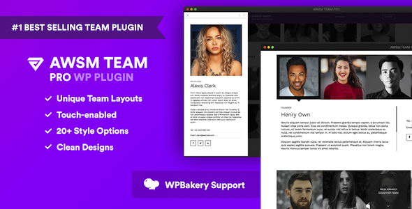 AWSM Team Pro v1.2.2 - плагин WordPress для демонстрации команды